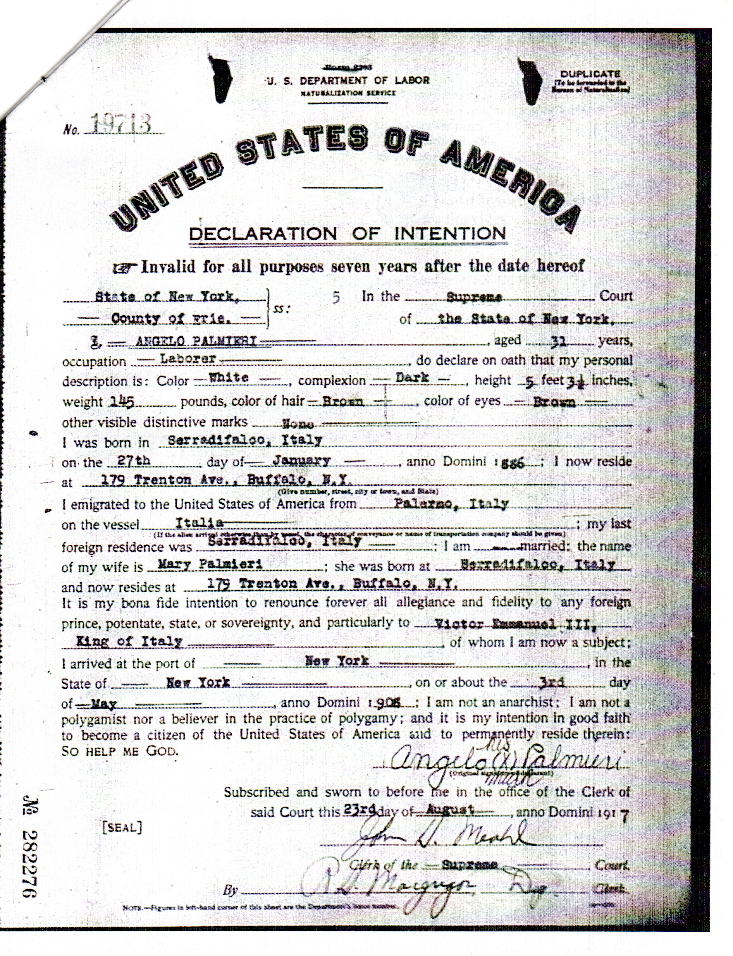 Naturalization genealogy and jure sanguinis my great grandfathers naturalization papers arrive xflitez Choice Image