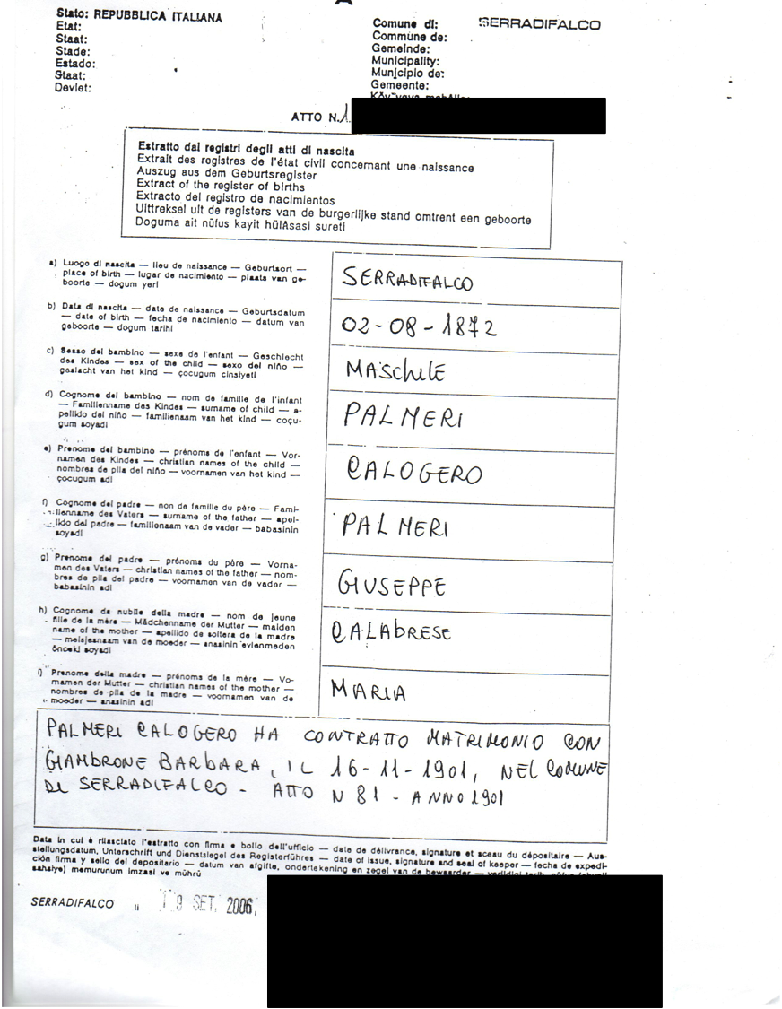 Palmeri page 7 genealogy and jure sanguinis birth certificate for calogero palmeri my great grandfathers brother born in serradifalco aiddatafo Gallery