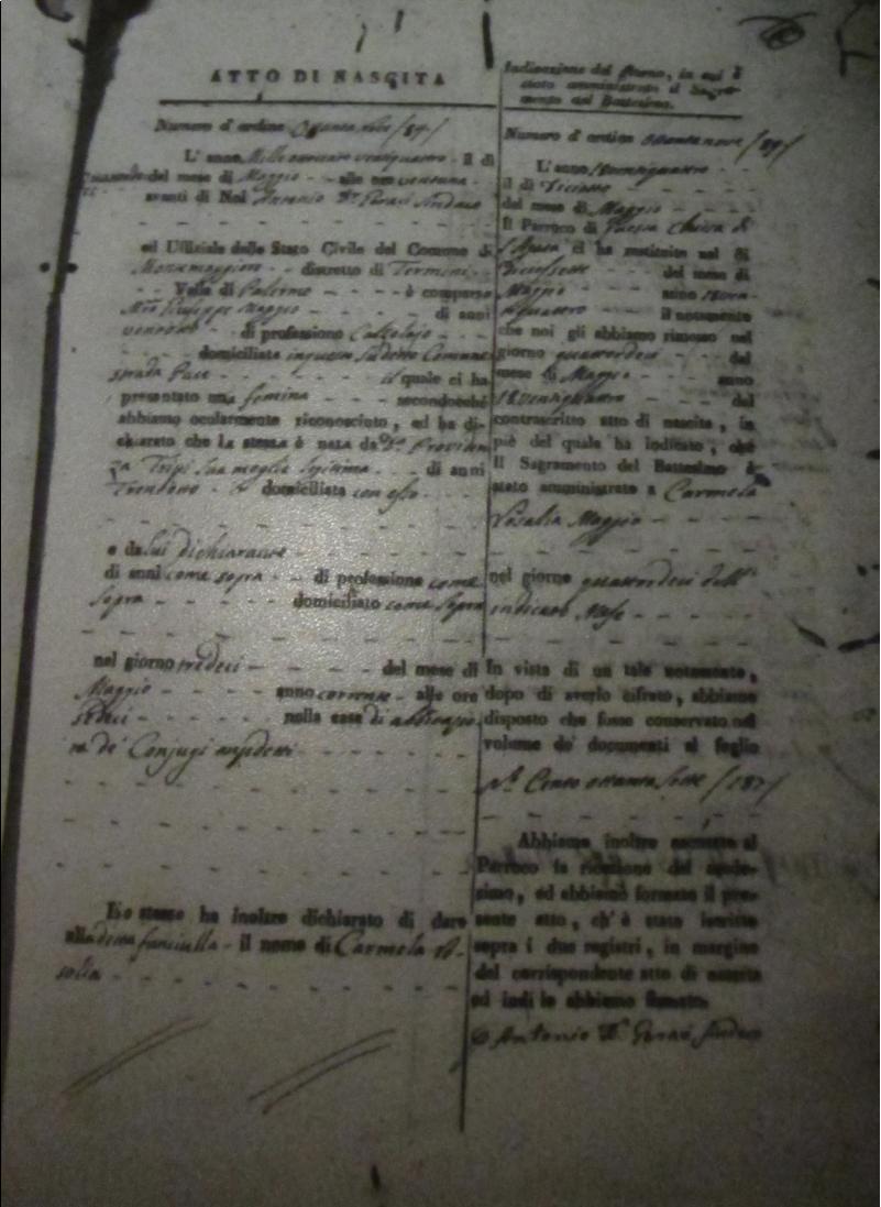 Palmerit page 9 genealogy and jure sanguinis carmelo maggio atto di nascita montemaggiore 13 may 1824 aiddatafo Gallery