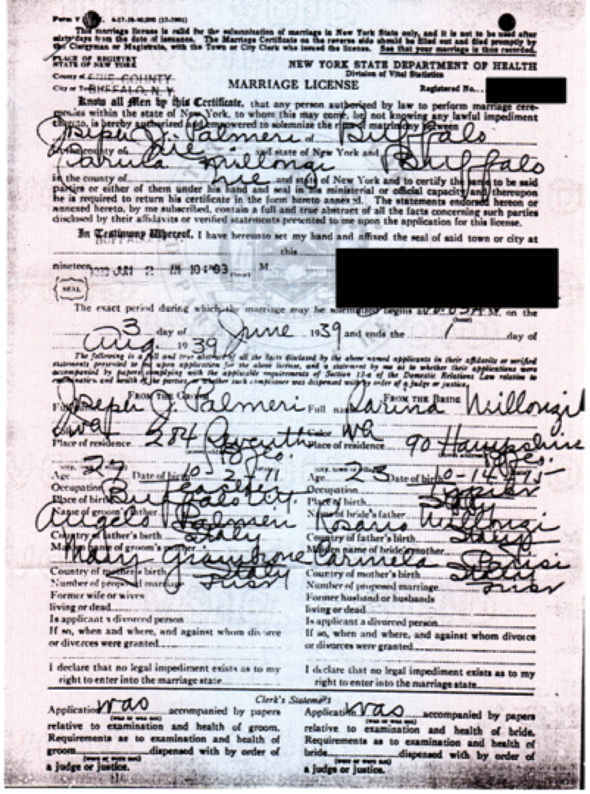 New york genealogy and jure sanguinis my grandparents marriage certificate arrives from ny 1betcityfo Image collections