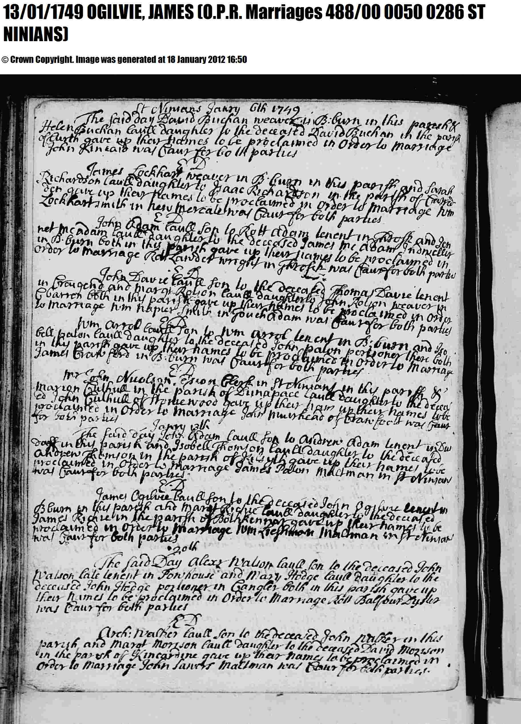 Birth certificate genealogy and jure sanguinis marriage record 13 jan 1749 for james ogilvie and margaret richie aiddatafo Images