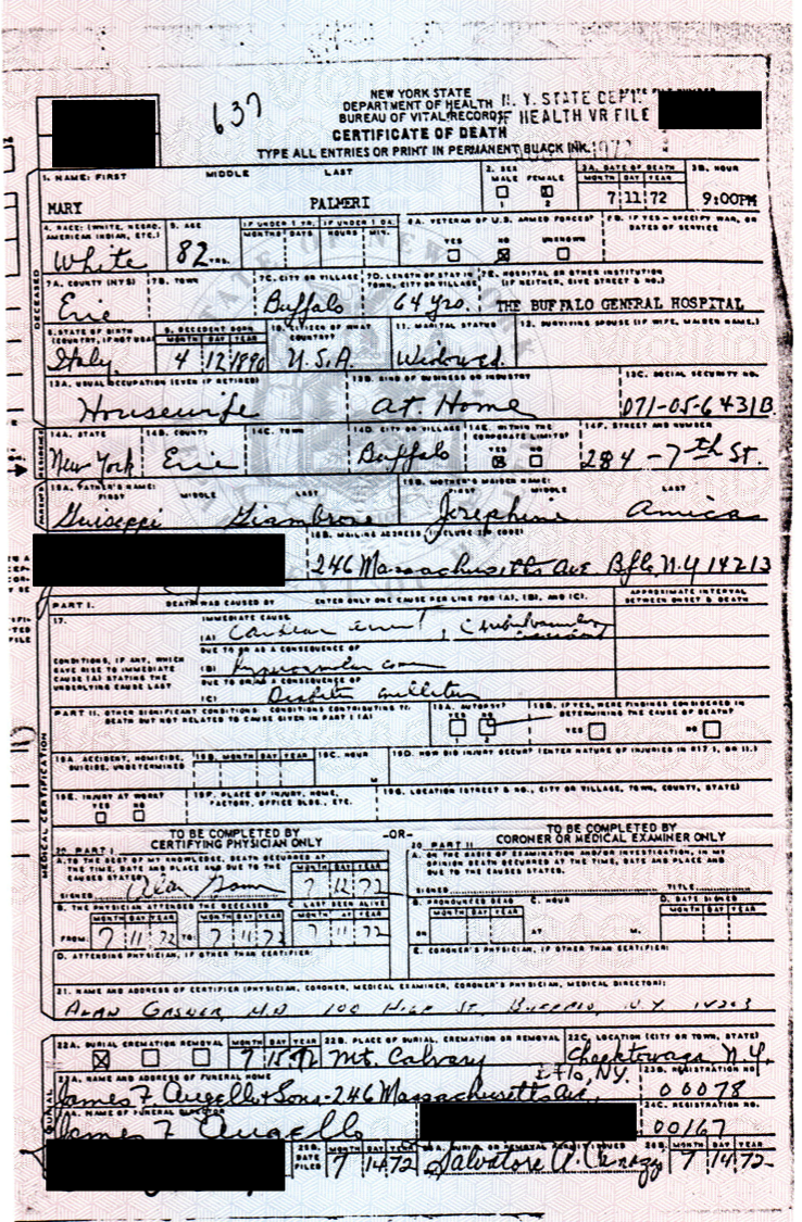 Death certificate genealogy and jure sanguinis great grandmothers death certificate arrives 1betcityfo Image collections