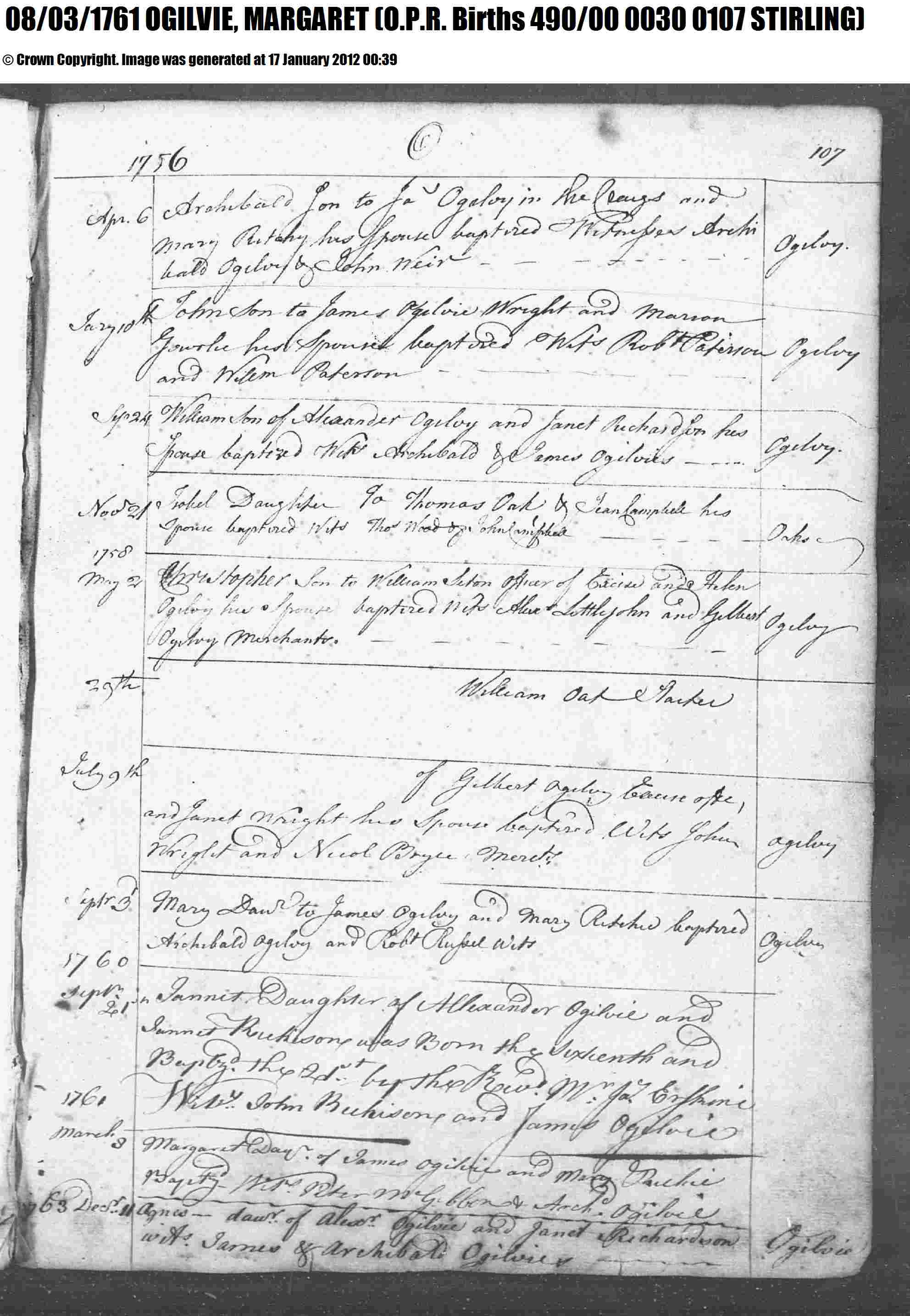 Birth certificate genealogy and jure sanguinis birth record 8 mar 1761 for margaret ogilvie to james ogilvie and mary richie aiddatafo Image collections