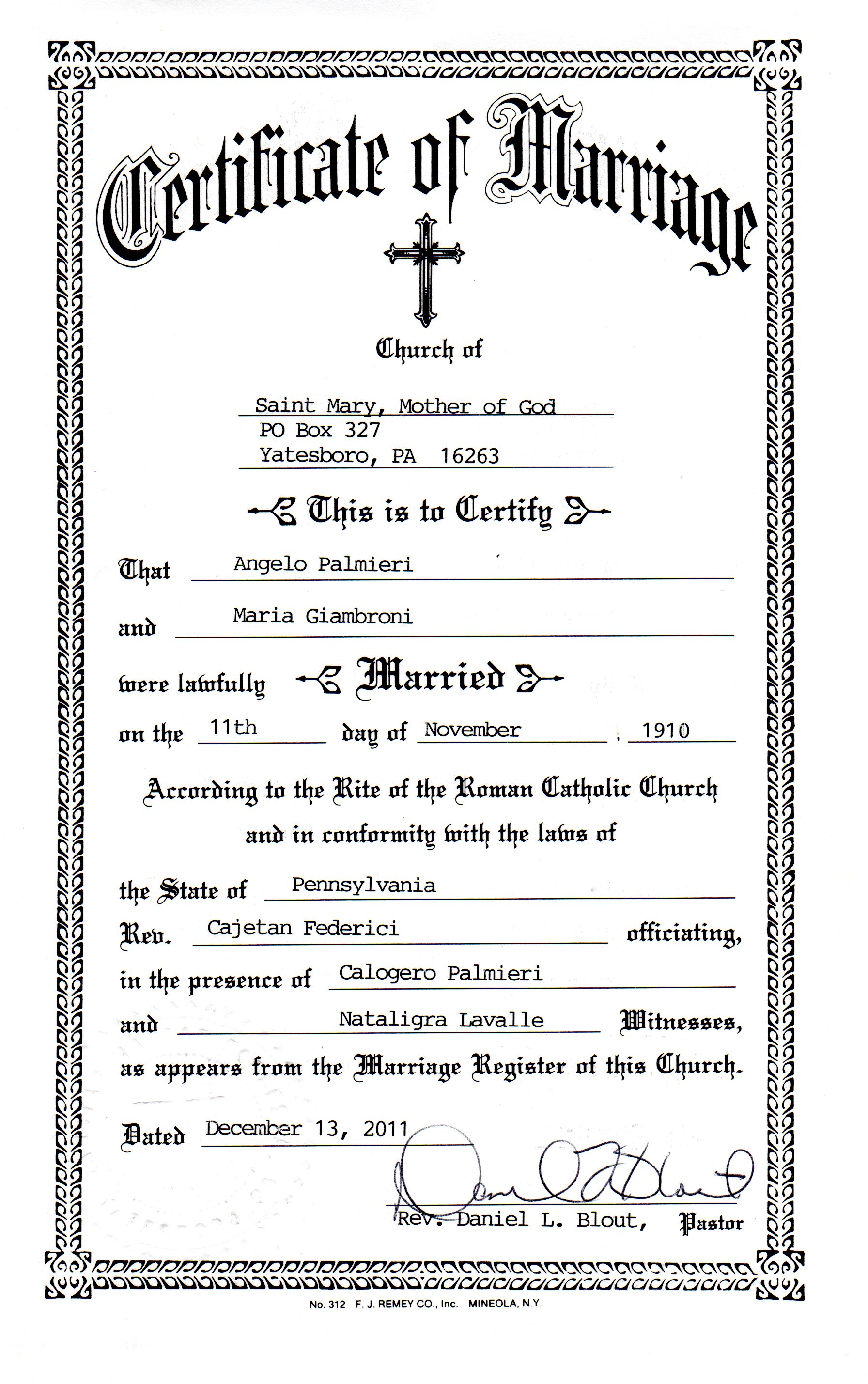 Maria giambrone genealogy and jure sanguinis for Gay marriage certificate template