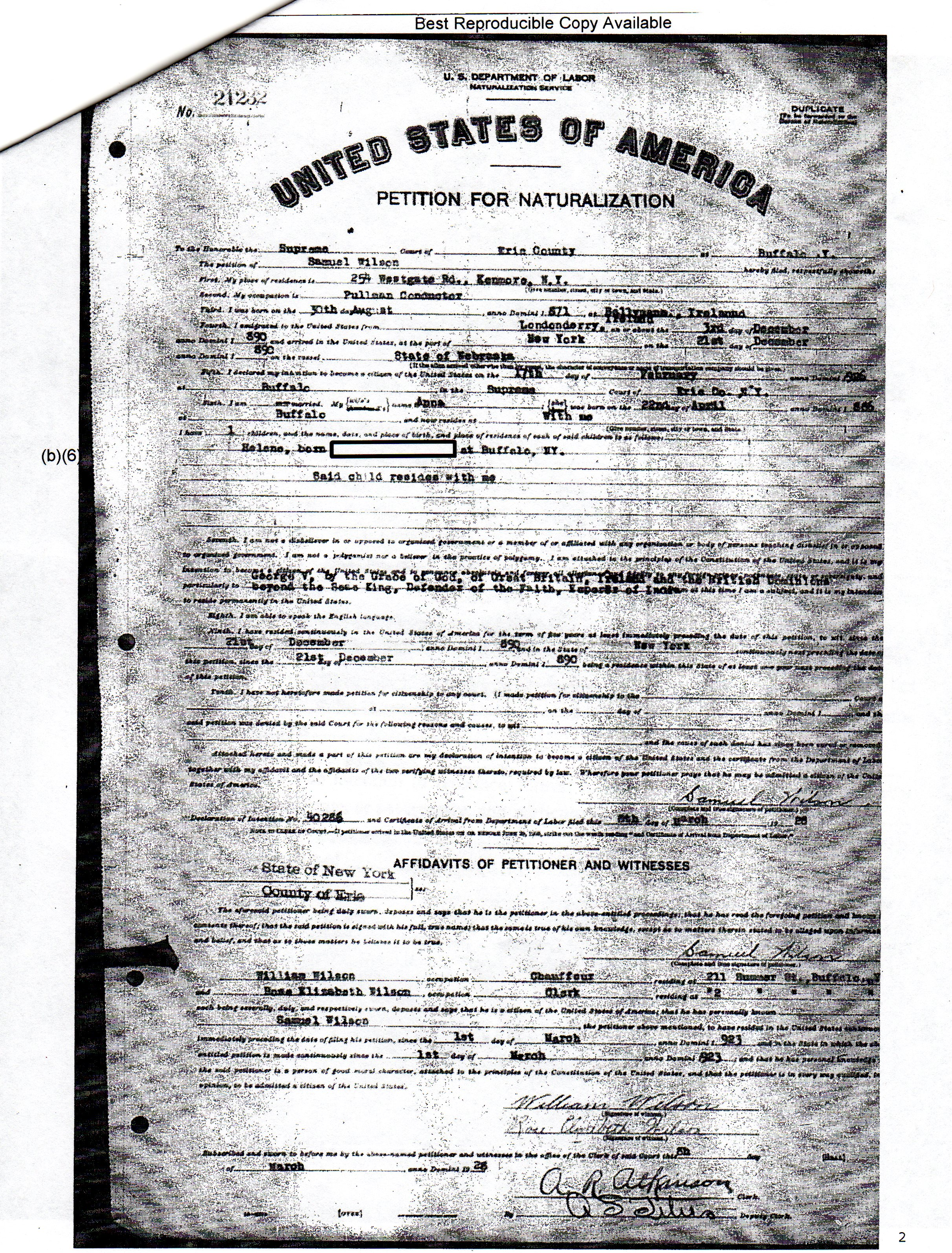 Naturalization genealogy and jure sanguinis the petition for naturalization lists william wilson and rose elizabeth wilson as witnesses brother cousin 1betcityfo Images